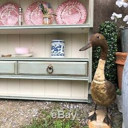 Vintage Duck Egg Blue / Cream Painted Pine Country Farmhouse Wall Plate Rack