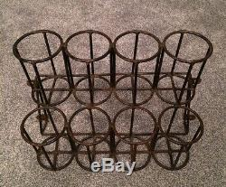 Vintage French Cast Iron 8 Bottle Wall Mounted Rack A Good Solid Piece