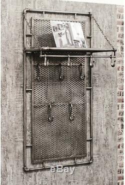 Vintage Industrial Coat Rack Hallway Furniture Metal Storage Shelf 9 Hooks Urban
