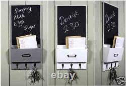 Vintage Letter Rack With 3 Key Hooks Black Chalk Board Wall Organizer Shaby Chic