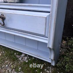 Vintage Light Blue Hand Painted Pine Country Farmhouse Wall Cabinet / Plate Rack