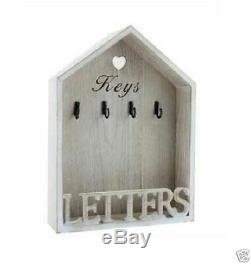 Vintage Natural Shabby Chic Letter Rack 4 Key Holder Hooks Storage Wall Mounted