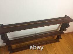 Vintage Ornate CARVED Wood LION HEAD WALL Mount Wooden DISPLAY PLATE RACK SHELF