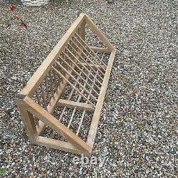 Vintage Pine Wooden Plate Rack Farmhouse Wall Mounted Long Triangular Rustic