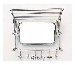 Vintage Retro Style Train Hall Luggage Wall Mounted Mirror Rack With Shelf Hooks