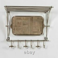 Vintage Retro Style Train Hall Luggage Wall Mounted Rack Mirror Shelf Hooks