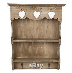 Vintage Style Wall Unit Shelf Storage Cupboard Cabinet Key Hooks, Spice Rack