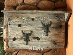 Vintage Style Wooden Wall Mounted Coat Rack Hat Clothes Hanging Hanger Stag Head