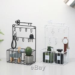 Vintage Wall Mounted Shelf Wire Rack Storage With Hook Basket Key Hanging Hanger