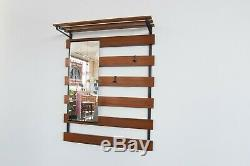 Vintage Wall Mounted Teak Coat Rack / Hall Stand With Mirror
