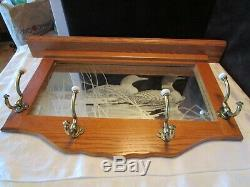 Vintage Wall hat coat rack oak wood Entry Hall Foyer etched Mirror ducks 32W
