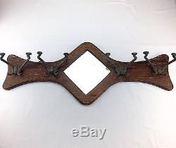 Vintage Wood Victorian Coat Rack With Mirror and Brass Barber Hooks Wall Mount