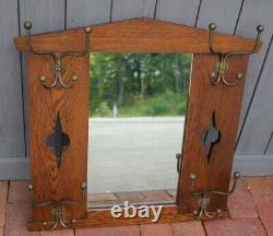 Vintage Wooden Hall Tree style Mirror Coat Rack Hook Hat Hooks wall mount frame