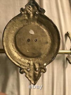 Vintage antique large brass horse head wall mount hook rack coat hanger 18'