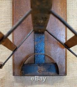 Vintage double saddle rack, wood and metal, wall mounted, bridle holder, Belgian