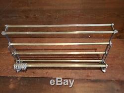 Vintage metal wall mounted luggage rack coat hook rail 1945/55 Art Deco