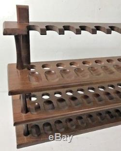 Vintage wooden 36 PIPE HOLDER Rack STAND Wall Mount Wood Display Pipes 3 Shelf
