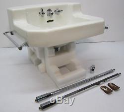 Vtg 1940s Kohler Wall Mount Porcelain Bathroom Sink Towel Rack Chrome Legs K1605