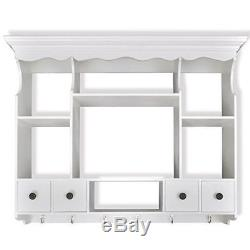 Wall Dish Rack White Wooden Kitchen Display Cabinet Mounted Plate Holder Drainer