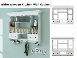 Wall Dish Rack Wooden Kitchen Display Cabinet Mounted Plate Holder Drainer Decor