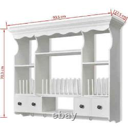 Wall Dish Rack Wooden Kitchen Wall Display Cabinet Mounted Plate Holder Drainer