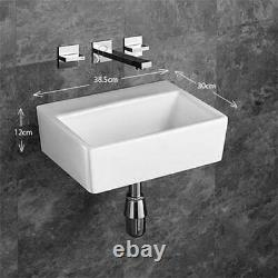Wall Hung Basin No Tap Hole Bathroom Rectangle White Ceramic Sink 385mm by 300mm