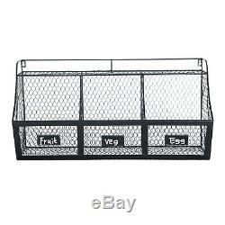 Wall Mount Fruit Basket 3 Compartment Metal Kitchen Storage Hanging Rack Shelf