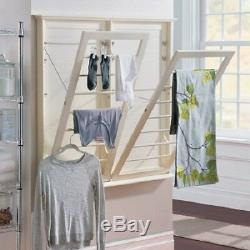 Wall Mount Laundry Rack Adjustable Clothes Drying Rod Space Saver Hanger White