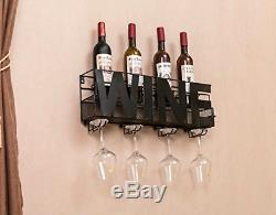 Wall Mount Metal Wine Rack Hanging Bottle Corks Holder Sturdy Storage Home Decor