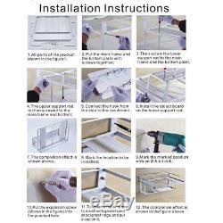 Wall Mount Microwave Oven Rack Bracket Stand Kitchen Shelf Storage Cabinet 2Tier