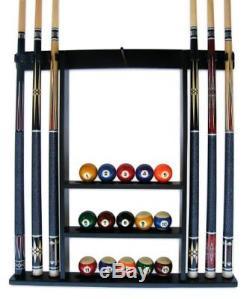 Wall Mount Pool Table Wood Rack Mahogany Billiard Balls Racks Accessories