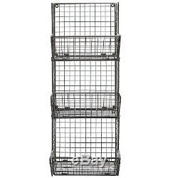 Wall Mount Rack Fruit Basket Holder Storage Metal Wire 3 Tier Bin Shelf Kitchen