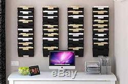 Wall Mount Steel File Holder Organizer Rack Multi Purpose Display Magazine Black