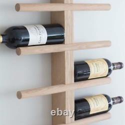 Wall Mounted 22 Bottle Large Vintage Wooden Oak Storage Bar Display Wine Rack UK