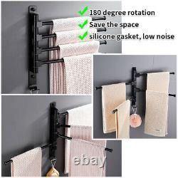 Wall Mounted 4 Arm Towel Rail Storage Holder Bathroom Kitchen Swivel Rack