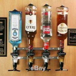 Wall Mounted 4 Bottle Wine Dispenser Spirit Drink Holder Rack Bar Shot Optics