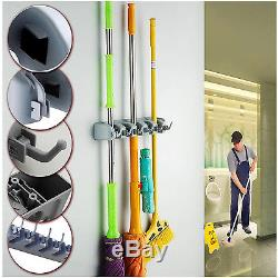 Wall Mounted 5 Rack Kitchen Storage Mop Organizer Holder Brush Broom Hanger Set