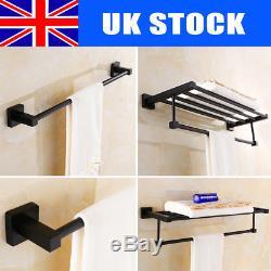Wall Mounted Bathroom Single/Double Towel Rail Holder Shelf Rack Stainless Steel