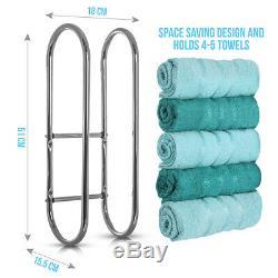 Wall Mounted Chrome Towel Holder Shelf Bathroom Storage Rack Rail Bar Stand New