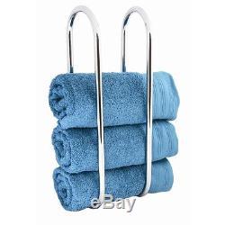 Wall Mounted Chrome Towel Holder Shelf Bathroom Storage Rack Rail New