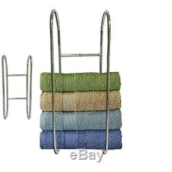 Wall Mounted Chrome Towel Holder Shelf Bathroom Storage Rack Rail New DCUK