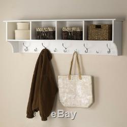 Wall Mounted Coat Hat Rack Shelf Organizer Storage Hook Wood White 60 in