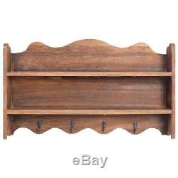Wall Mounted Coat Rack Wooden With Storage Unit Shelf Modern Hooks Stand Hat New