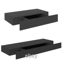 Wall Mounted Floating Display Shelf Shelves 1 Drawer Storage Rack Unit 48/80 cm