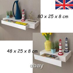 Wall Mounted Floating Display Shelf Shelves With 1 Drawer Storage Rack Unit UK