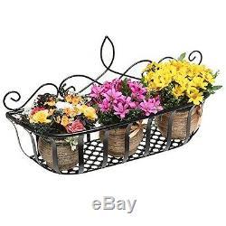 Wall Mounted Flower Pot Planter Rack Black Metal Home Storage Organizer Basket