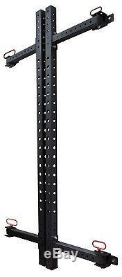 Wall Mounted Folding Squat / Bench Press Rack + Safety Bars + Tricep Dip Bar