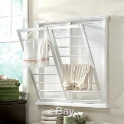 Wall Mounted Laundry Drying Rack Madison 46 Inch W Fold Down White Wood Shelves