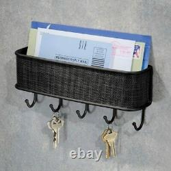 Wall-Mounted Letter Rack + Key Holder Black 5-Hooks Mail Post Organise Storage