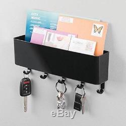 Wall Mounted Letter Rack Key Holder Hooks Mail Organizer Brand New Fast Del